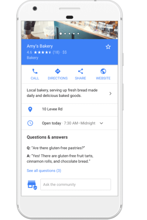 respond to every question that appears on your business page. you see an example of a Q&A on google maps in the image.